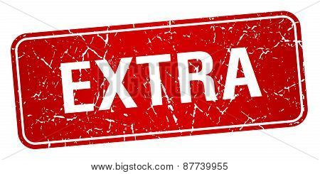 Extra Red Square Grunge Textured Isolated Stamp