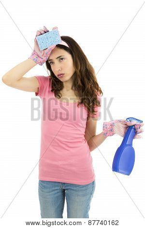 Spring Cleaning Woman Exhausted