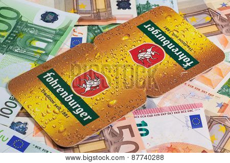 Beermats From Fohrenburger Beer And Eur Money