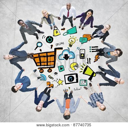 Business People Online Marketing Teamwork Support Concept