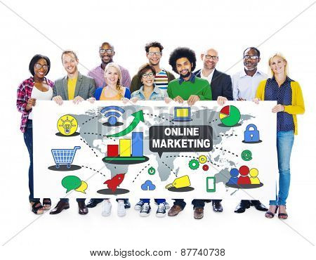 Online Marketing Strategy Advertising Commercial Concept