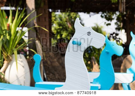 Blue And White Painted Rocking Horse