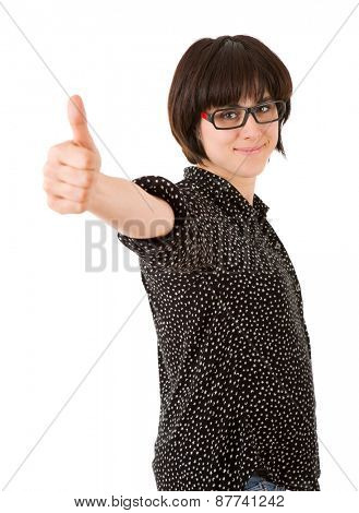 young happy beautiful woman going thumb up