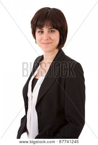 young beautiful business woman, isolated in white