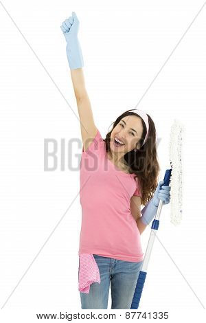 Cheering Cleaning Woman