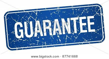 Guarantee Blue Square Grunge Textured Isolated Stamp