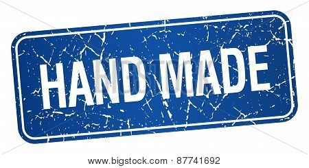 Hand Made Blue Square Grunge Textured Isolated Stamp