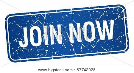 Join Now Blue Square Grunge Textured Isolated Stamp