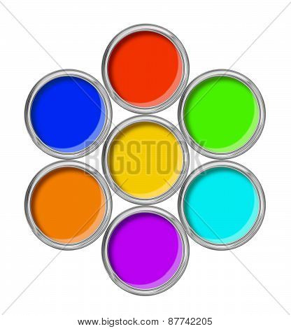 Open Tin Cans With Paint And Palette Isolated On White