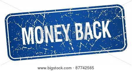 Money Back Blue Square Grunge Textured Isolated Stamp