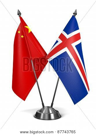 China and Iceland - Miniature Flags.