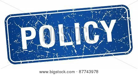 Policy Blue Square Grunge Textured Isolated Stamp