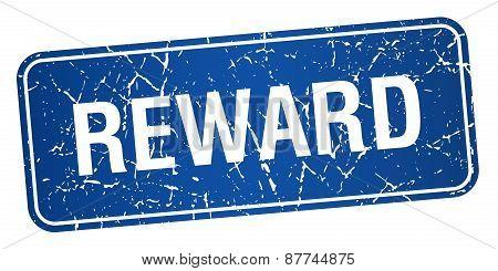 Reward Blue Square Grunge Textured Isolated Stamp