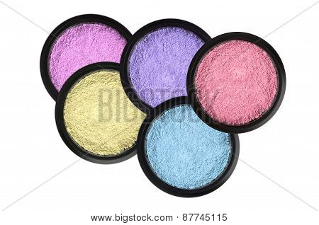 Set Of 5 Eyeshadows Isolated On White Background