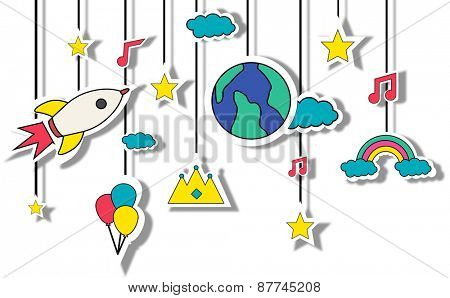 Mobile Sculpture Hanging Wind Chime Fun Concept