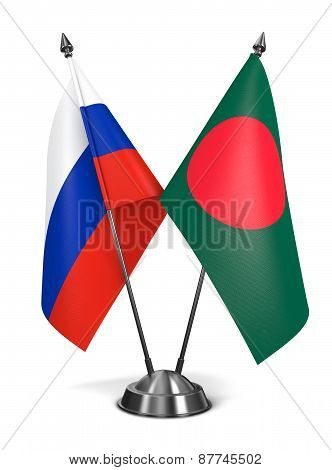 Russia and Bangladesh - Miniature Flags.
