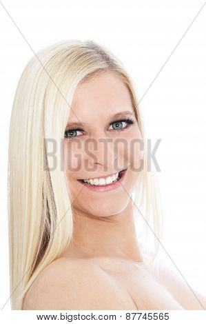 Portrait Of Happy Blond Woman With Bare Shoulders
