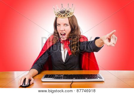 Office queen isolated on the white