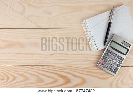Notepad, Calculator And Pencil