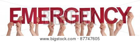 Many People Hands Holding Red Straight Word Emergency
