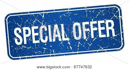 Special Offer Blue Square Grunge Textured Isolated Stamp