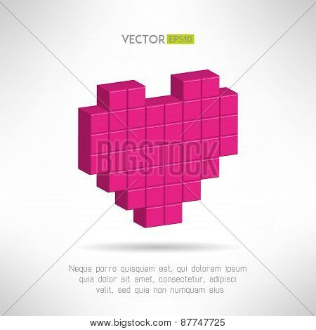 Pink heart icon in special pixel flat design. Social network like symbol. Vector illustration