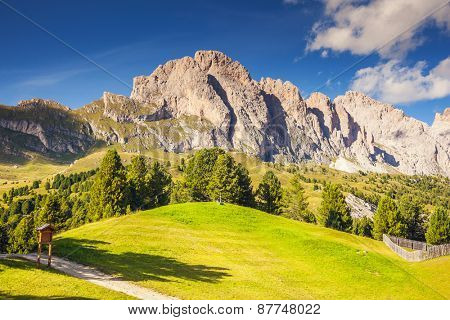 View on the Puez Odle or Geisler summits, valley Gardena. National Park Dolomites, South Tyrol. Location village Ortisei, S. Cristina and Selva Gardena, Italy, Europe. Unusual scene. Beauty world