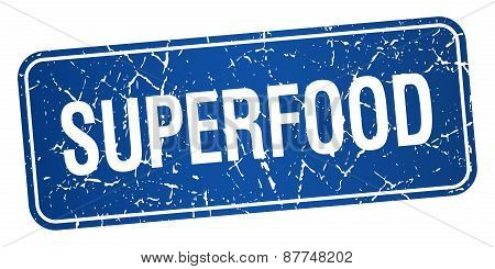 Superfood Blue Square Grunge Textured Isolated Stamp