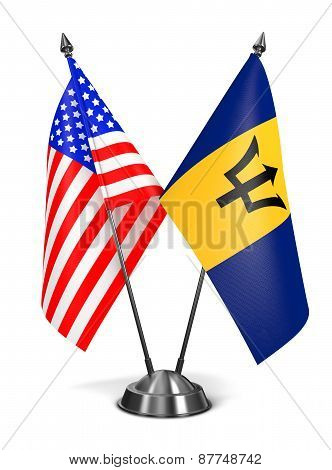 USA and Barbados - Miniature Flags.