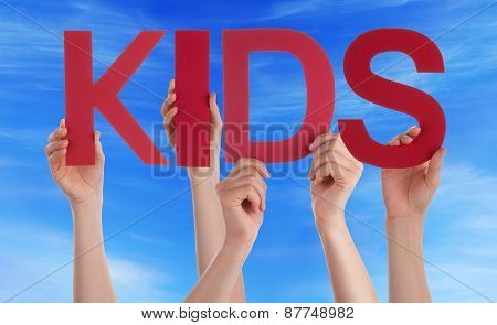 Many People Hands Holding Red Straight Word Kids Blue Sky