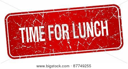 Time For Lunch Red Square Grunge Textured Isolated Stamp
