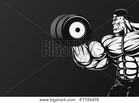 Bodybuilder with dumbbell