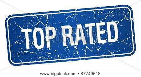Top Rated Blue Square Grunge Textured Isolated Stamp