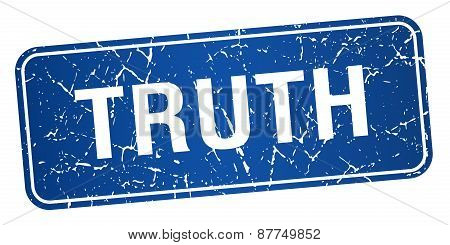Truth Blue Square Grunge Textured Isolated Stamp