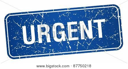 Urgent Blue Square Grunge Textured Isolated Stamp