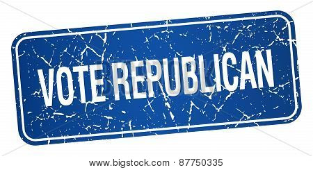 Vote Republican Blue Square Grunge Textured Isolated Stamp