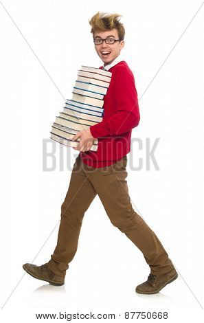Funny student with books isolated on white