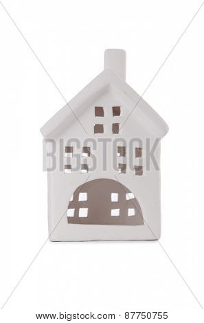Clay toy house isolated on white