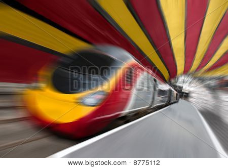 Fast Passenger Speed Train In Tunnel With Zoom Blur