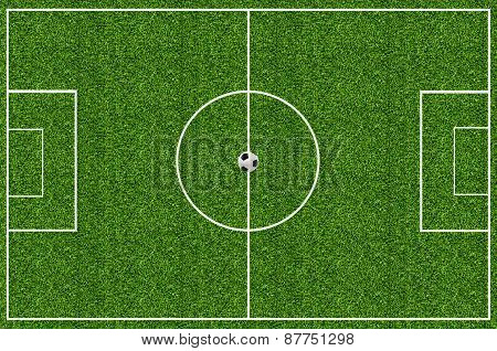 Soccer Field Green Grass and soccer ball