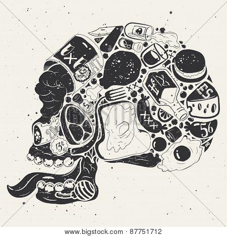 Figure Skull Of Food Collage
