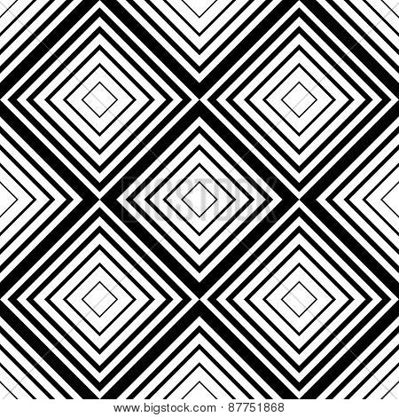 Seamless Square Pattern. Abstract Black and White Background. Vector Regular Texture
