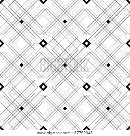 Seamless Square Line Pattern. Vector Black and White Texture