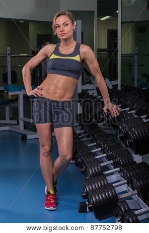 Beautiful, sexy, muscular blonde in the gym. Female fitness