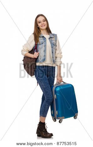 Young smiling girl with bag isolated on white