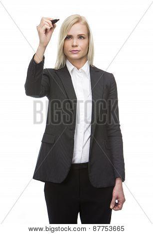 businesswoman with felt pen