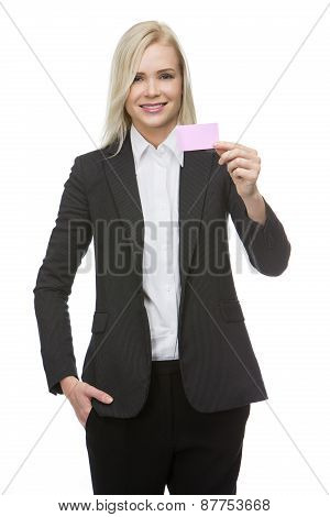 businesswoman with pink card