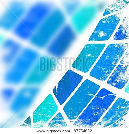 grunge blue squares on a white background