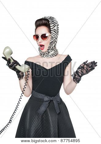 Surprised Beautiful Woman In Pin-up Style With Retro Telephone Isolated
