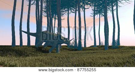 styracosaurus walking in water in araukaria grove